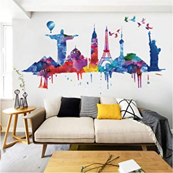 Amtoodopin Colorful Cityscape Wall Stickers Watercolor World Buildings Wall Decal Removable Wall Sticker Colorful City Wall Decals DIY Wall Mural for ...