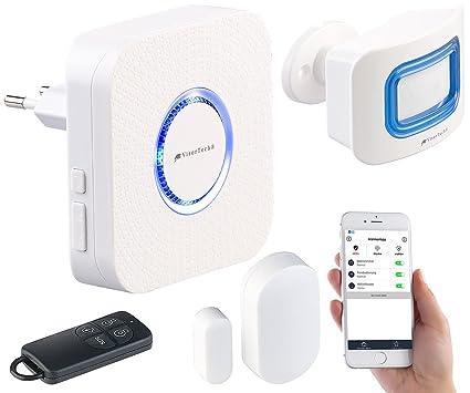 VisorTech – 4 piezas WiFi de alarma, Alexa de compatible, para hasta 50 sensores