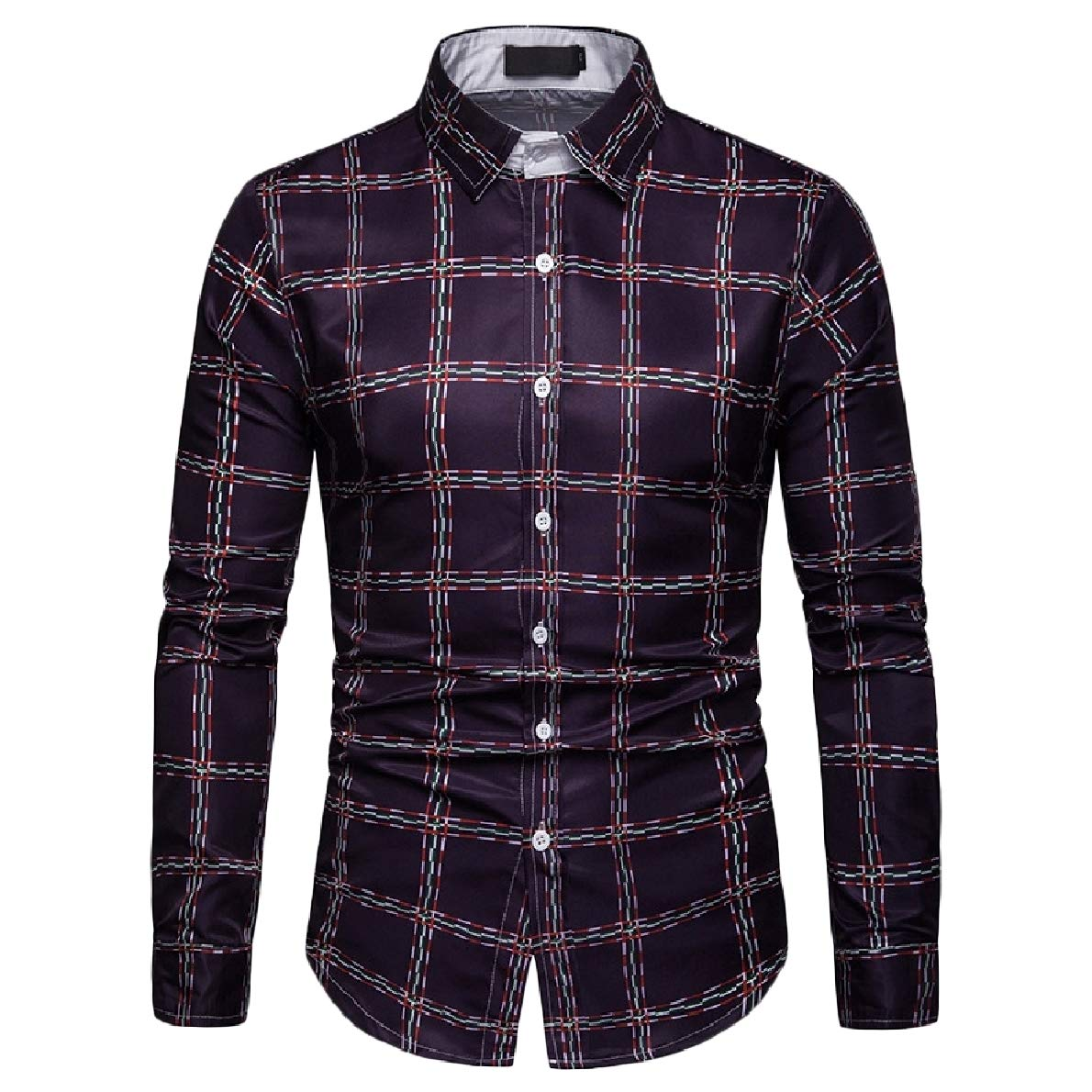 WillingStart Mens Plaid Long Sleeve Casual Fitted Button-up Lapel Tops Shirt