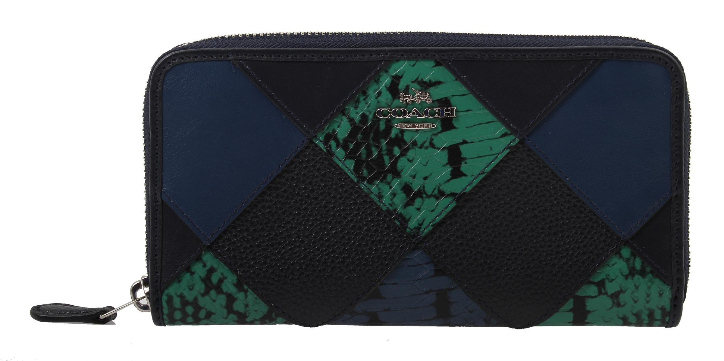 COACH Accordion Zip Wallet with Snake Skin Embossed Patchwork, F57591 SVF23