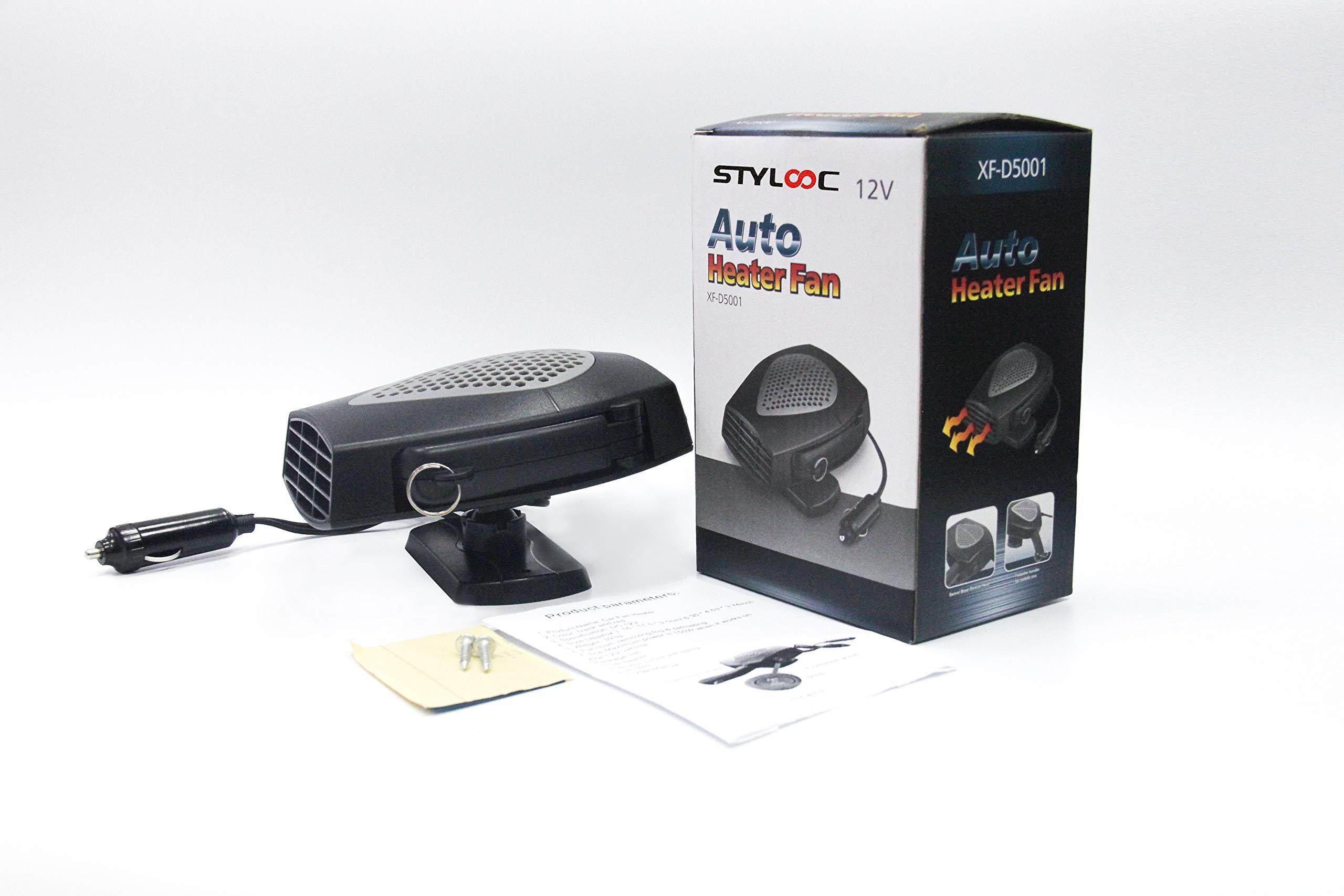 Portable Car Heater, STYLOOC 60 Seconds Fast Heating Defrost Defogger Demister Vehicle Heat Cooling Fan 12V 150W Auto Ceramic Heater 3-Outlet Plug In Cigarette Lighter(Black)
