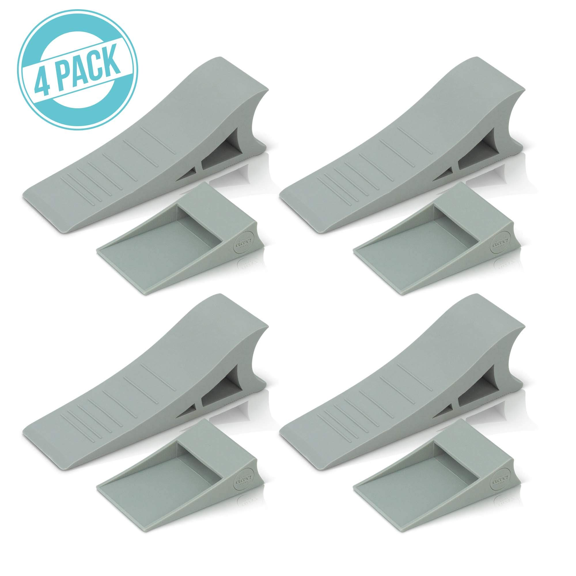 Heavy Duty Rubber Door Stopper - Zero Edge Door Wedge Stops All Doors, Gaps to 1.5 Inch on All Surfaces - Door Stopper Wall Mount Hangs Up When Not In Use for No-Bending Easy Access by Quality Clever