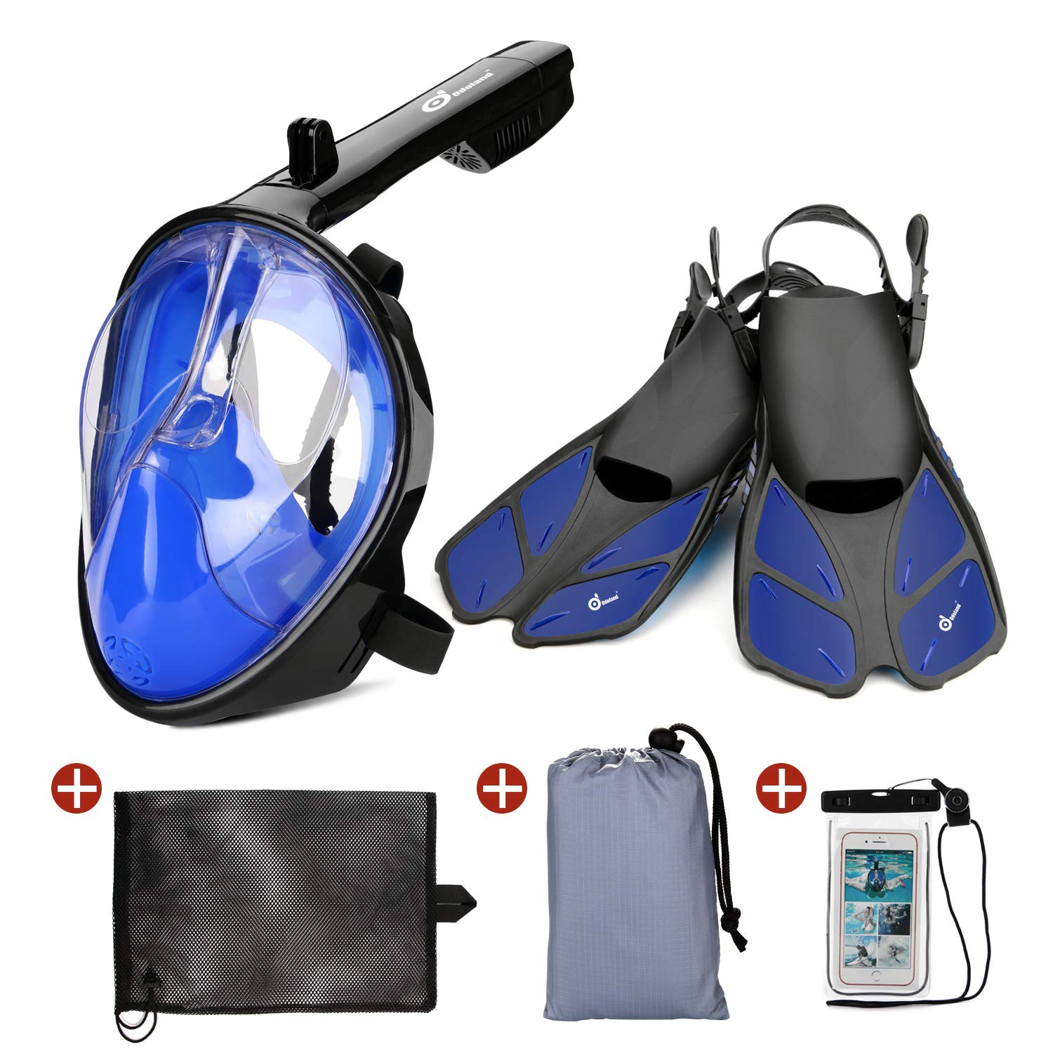 Odoland 5-in-1 Snorkeling Packages, Full Face Snorkel Mask with Adjustable Swim Fins and Lightweight Mesh Bag and Waterproof Case and Beach Blanket - GoPro Compatible