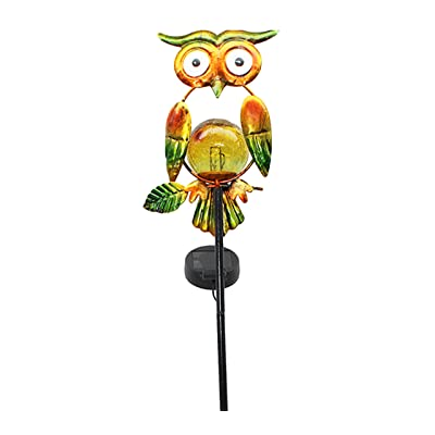 HOLADON Outdoor Owl Solar Light Stake - Owl Garden Stake, Outdoor Solar Pathway Lights Waterproof Solar Landscape Lights for Garden, Path, Yard, Patio, Driveway, Lawn (Yellow)