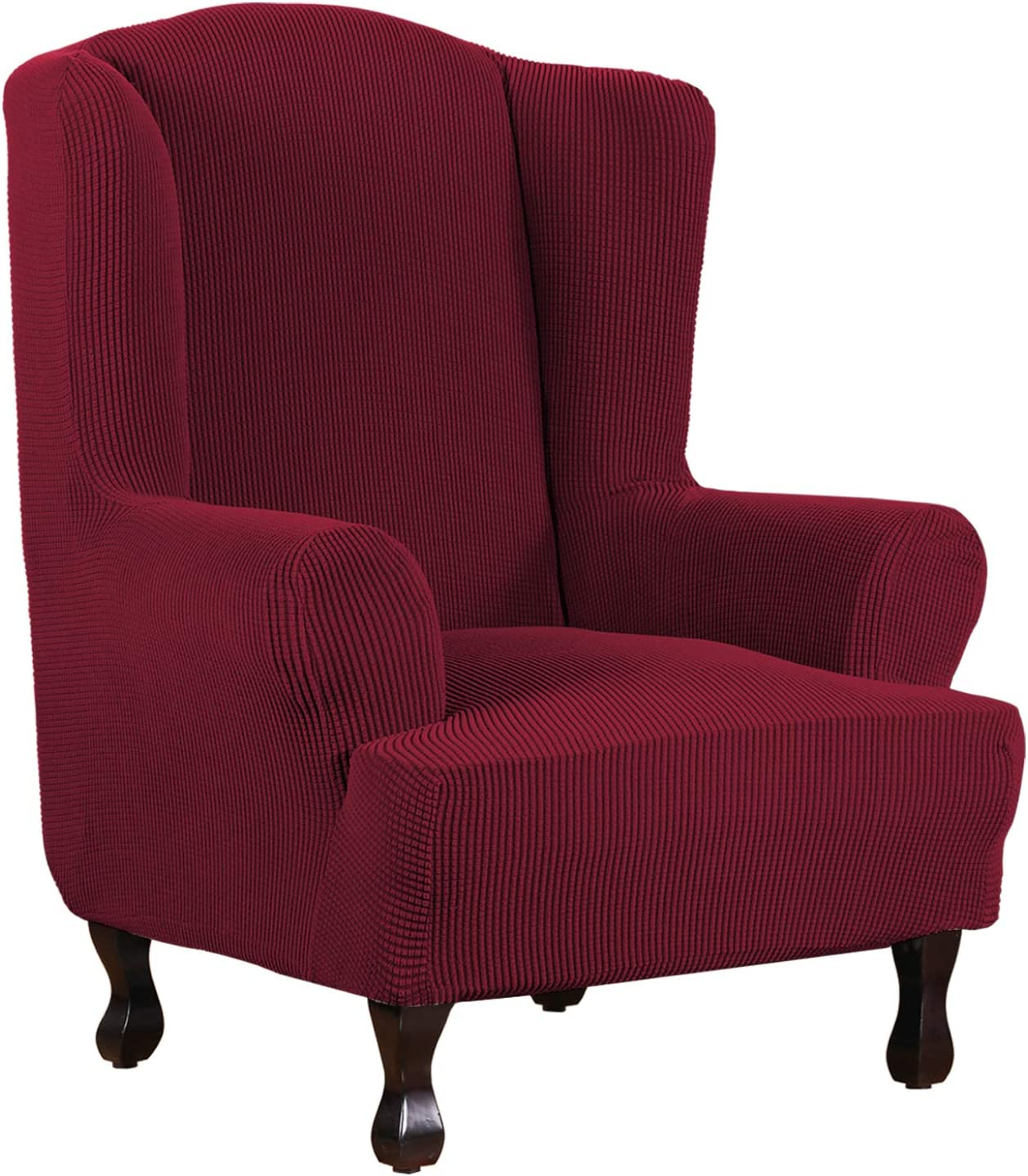 1 Piece Super Stretch Stylish Furniture Cover/Wingback Chair Cover Slipcover Spandex Jacquard Checked Pattern, Super Soft Slipcover Machine Washable/Skid Resistance (Wing Chair, Burgundy Red)