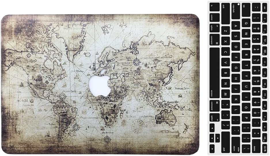 2013-2015 Ver MacBook Pro 13'' with Retina Display Case, AICOO 2-in-1 Beautiful Hard Case Cover with Keyboard Skin Protector for MacBook Pro Retina 13.3 inch (A1502 / A1425), Ancient Map