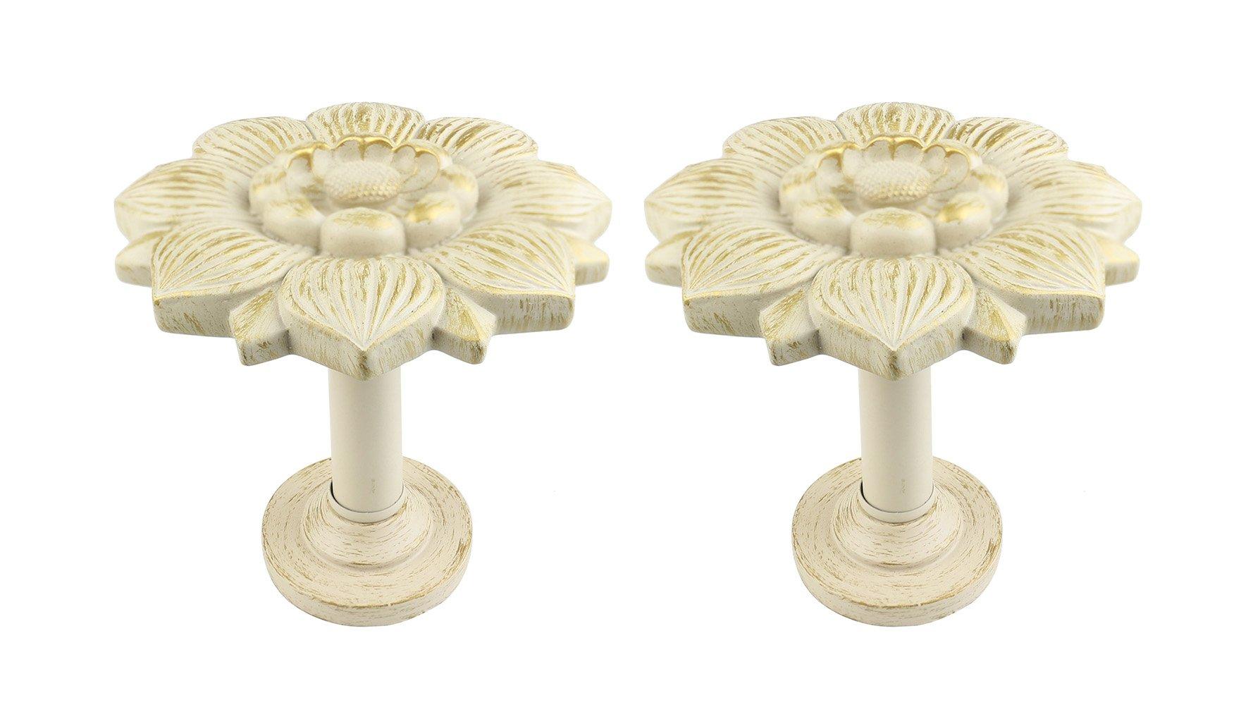Urbanest Set of 2 Large Bloom Medallion Drapery Holdback, Gilded French White by Urbanest