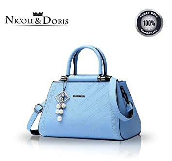 af0009966a8 Nicole Doris new fashion women handbags tide casual and simple handbag  female shoulder bag Messenger bag purse(azure)  Amazon.co.uk  Clothing