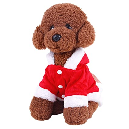 f29a98f6bad2 Image Unavailable. Image not available for. Color: UHeng Funny Pet Dog Suit Christmas  Costumes Winter Hoodies Xmas ...