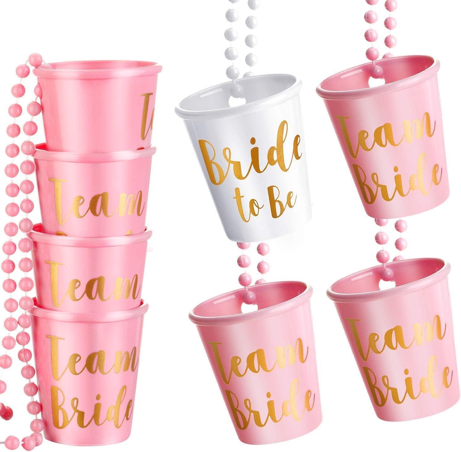 8 Piezas Team Bride and Bride To Be Collar de Cristal Chupito Nupcial con Cuentas Plástico Rosa Rojo/Rosa y Blanco con Oro Frustrar para Despedida de Soltera Fiesta Collar de Fiesta Nupcial (Rosa)