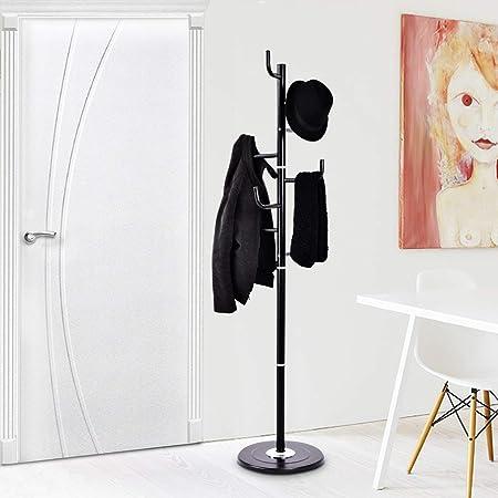 Tangkula Coat Rack Metal Frame Study Portable Free Standing Entryway Hat Coat Jacket Umbrella Holder Hanger with Base Coat Tree Stand Black
