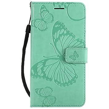 DENDICO Funda Huawei P8 Lite 2017/ Nova Lite, Protección Cuero Carcasa Libro de Piel Fundas para Huawei P8 Lite 2017 / Nova Lite - Verde