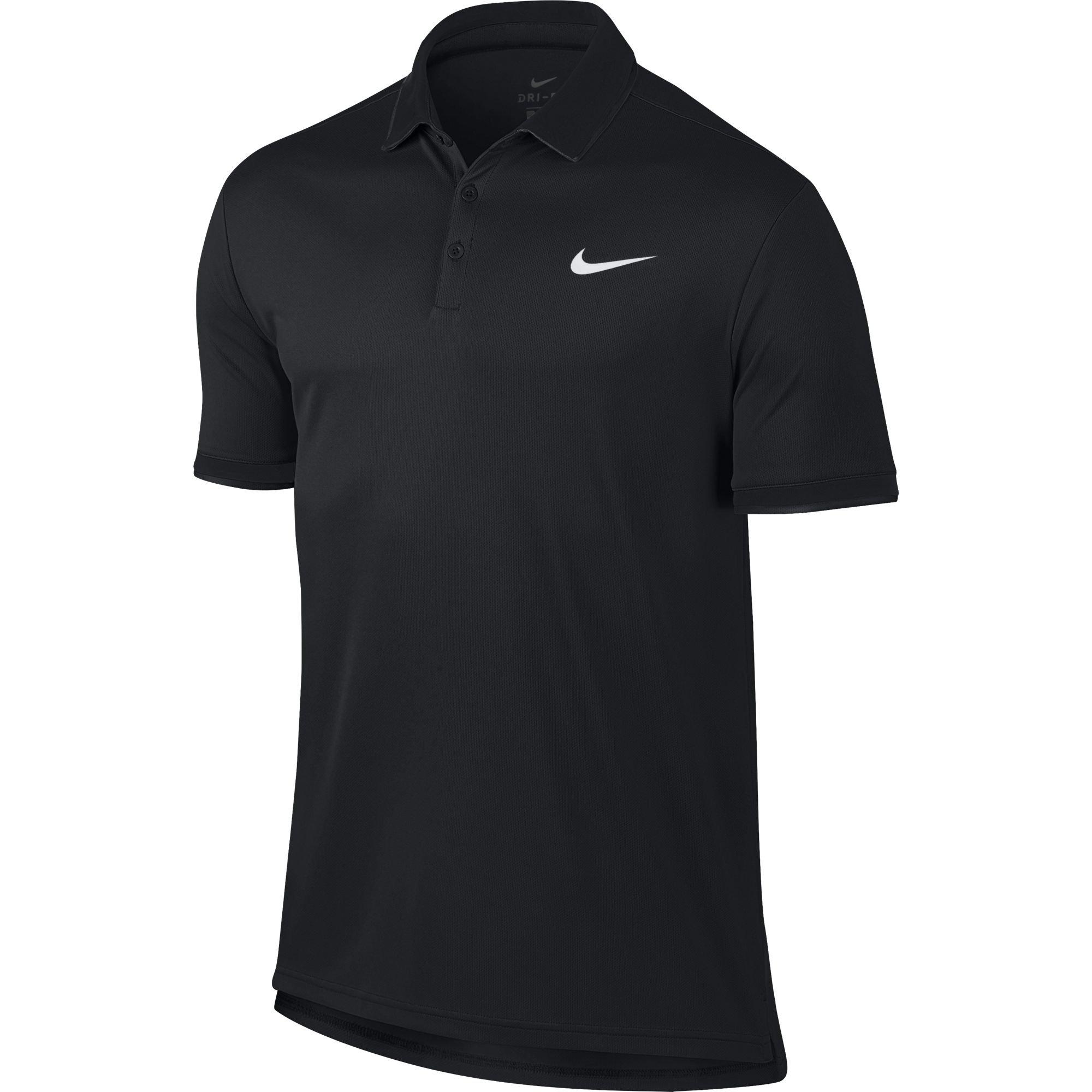 Nike Men's Court Dry Tennis Polo Black/White Size Small