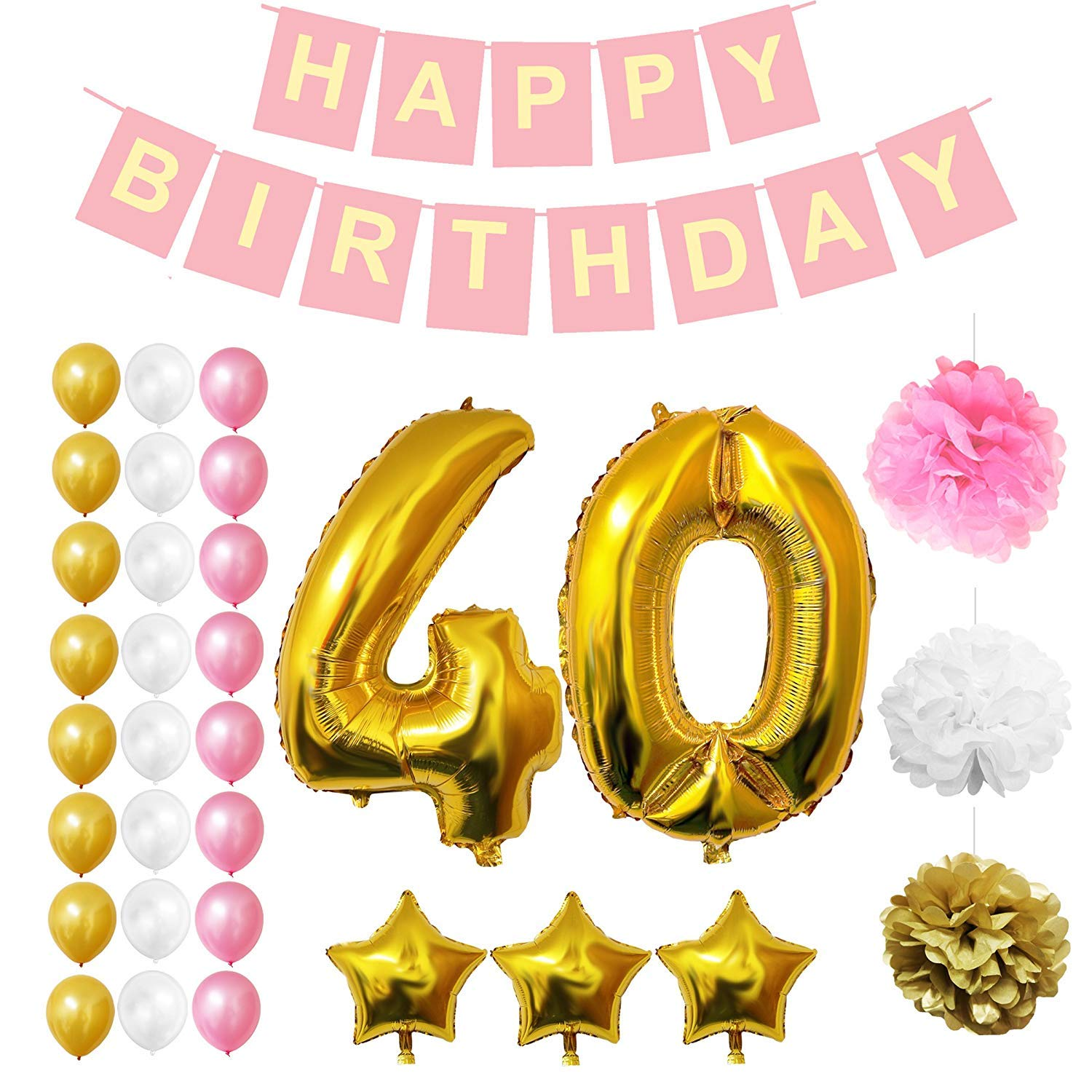 40th Birthday Decorations - Happy Birthday Party Banner Set with Balloons, Pom Pom & Latex Foil Balloons 32 Pcs by Belle Vous - Gold, White & Pink Party Supplies for Adults