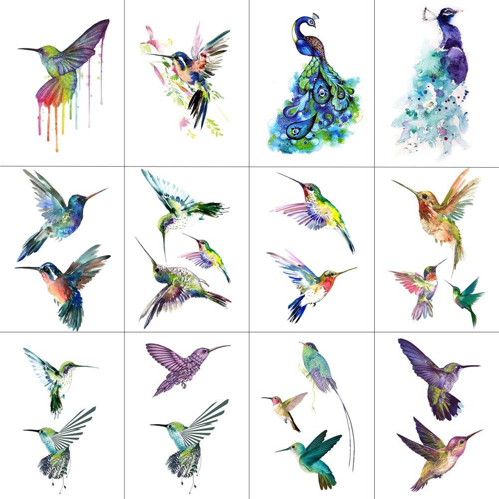 WYUEN 12 PCS Hummingbirds Temporary Tattoo Sticker for Women Men Fashion Body Art Adults Waterproof Hand Fake Tatoo 9.8X6cm W12-13