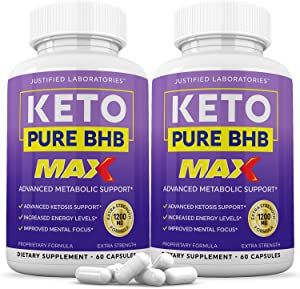 (2 Pack) Keto Pure BHB Max 1200mg Pills Ketogenic Supplement Includes goBHB Exogenous Ketones Apple Cider Vinegar Macadamia Nut Oil and Green Tea Advanced Ketosis Support for Men Women 120 Capsules