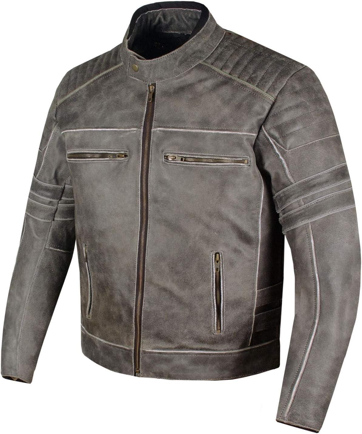 Mens SHADOW Motorcycle Distressed Cowhide Leather Armor Black Jacket Biker XXL
