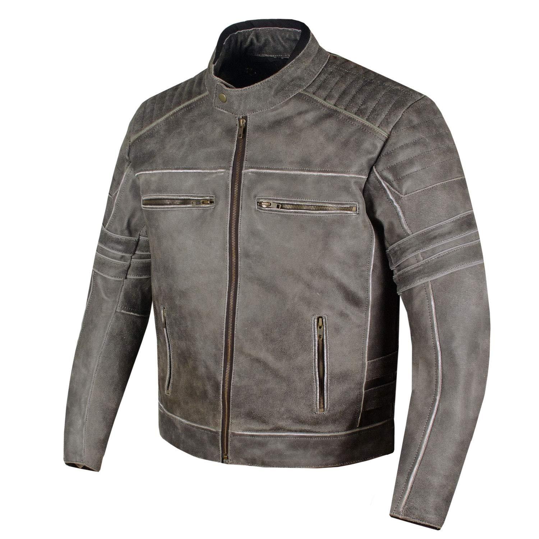 Mens SHADOW Motorcycle Distressed Cowhide Leather Armor Black Jacket Biker L