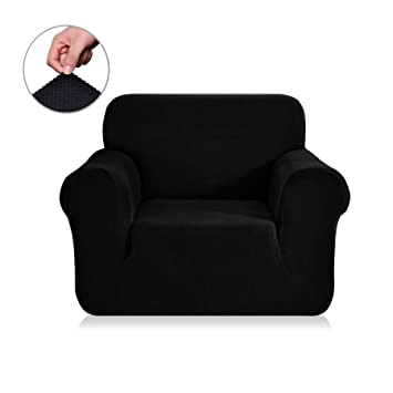 Chunyi Jacquard Sofa Covers 1 Piece Polyester Spandex Fabric Slipcovers  (Chair, Black)