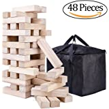 NEOWOWS Giant Stacking Games Hardwood Building Tower Camping Games with Carrying Bag - 48 Pieces