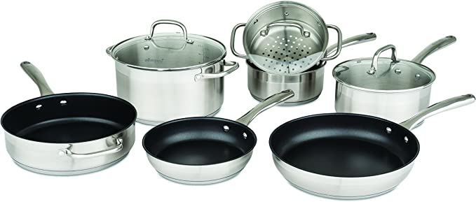 Allrecipes 10 Piece Two-Tone Stainless Steel Cookware Set With 3-Ply Base To Evenly Distribute Heat, Silver: Amazon.com.mx: Hogar y Cocina