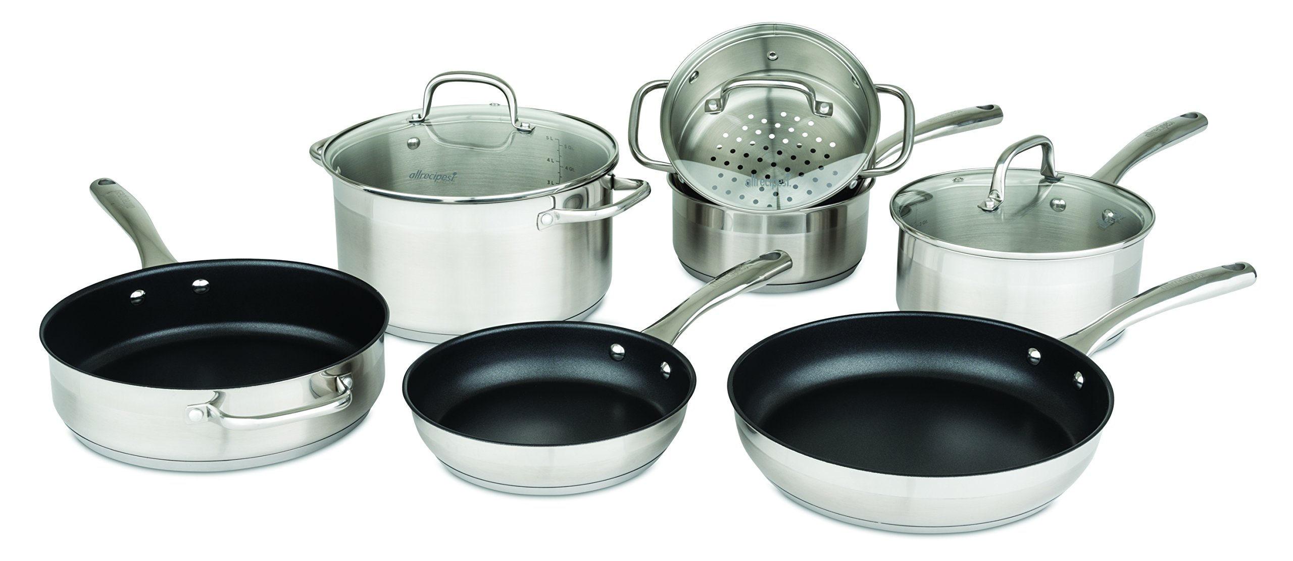 Allrecipes Stainless Steel Cookware Set with Nonstick Fry and Sauté Pans, 10 Piece by Allrecipes
