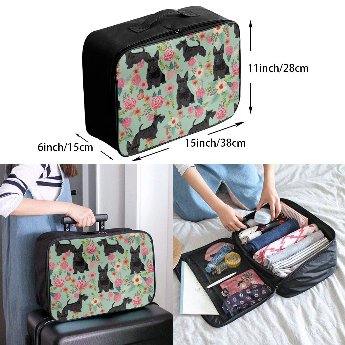 Luggage Duffel Bag Black USA Flag Lightweight Waterproof Storage Carry On Travel Duffle Tote Bag Gift for Boys Girls