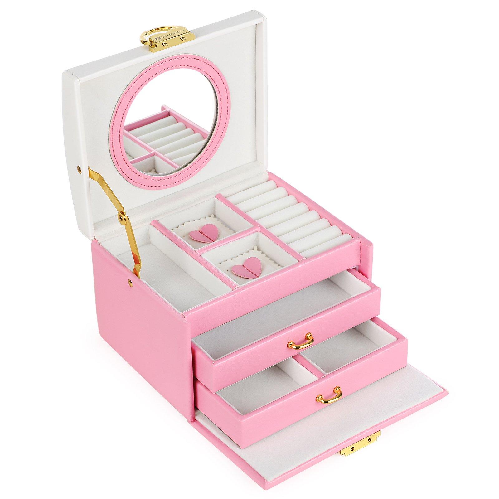 SONGMICS Jewelry Box Bowknot Mirrored Compact Travel Case Gift Kids Girls Women Pink White UJBC115P
