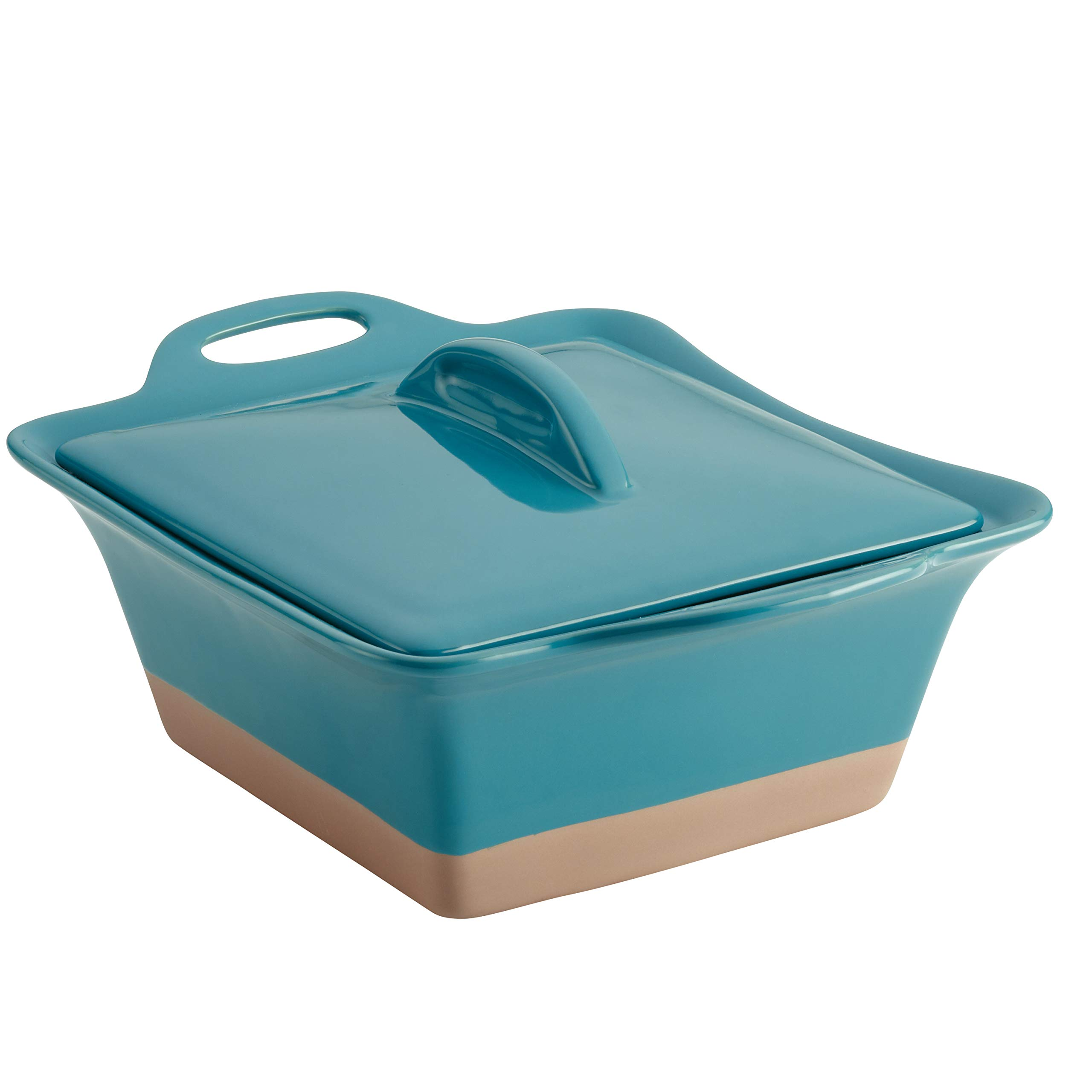 Rachael Ray 47148 2.5-Qt. Square Stoneware Casserole, Quart, Turquoise