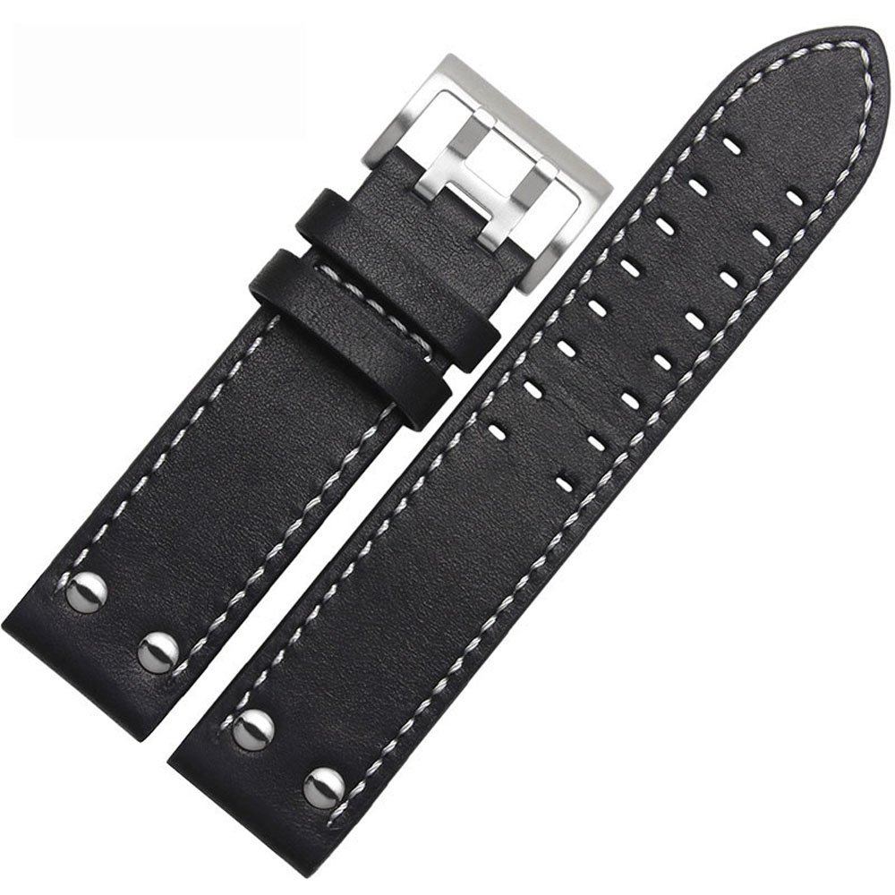 MSTRE NP125 22mm Watch Band Suitable for Hamilton Watches with Steel Buckle for Men&Women (20mm, WBlack)