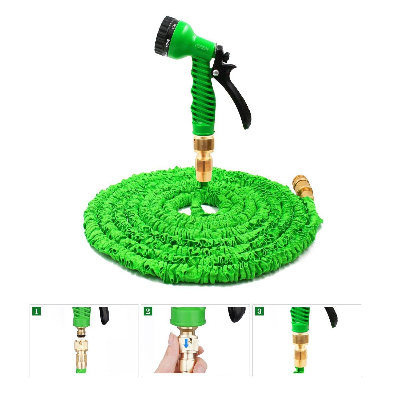 Homeme Gartenschlauch, 100 Füße Erweiterbarer Flexibler Magischer Schlauch Massive Messing Schlauchbeschläge & Spritzpistole mit 7 Mustern – Grün