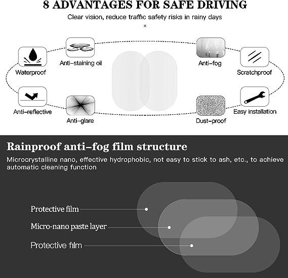 seguramente HD transparente antivaho revestimiento impermeable pel/ículas antiara/ñazos protector para SUV espejos laterales de coche cococity 2 piezas prueba de nieve para espejo retrovisor de coche