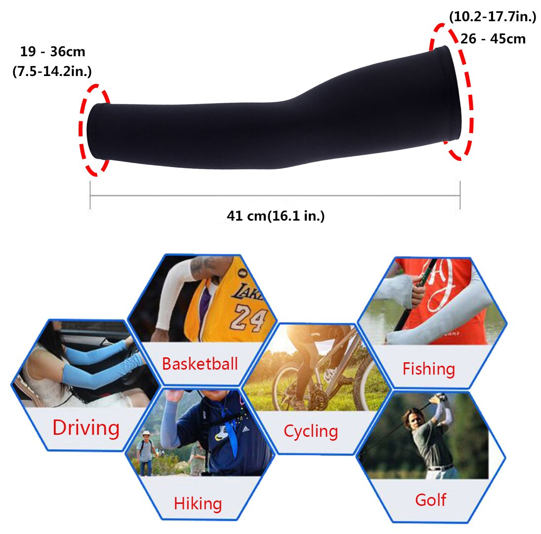 FREEMASTER Arm Sleeves 1 Pair,9 colors available Arm Warmers UV Protection for Men Women Youth,Quick Dry /& Elastic Arm Compression Sleeves for Cycling Running Driving Basketball