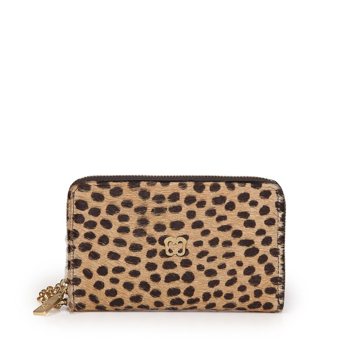 Eric Javits Luxury Fashion Designer Women's Handbag - Smartphone Wristlet - Cheeta Black