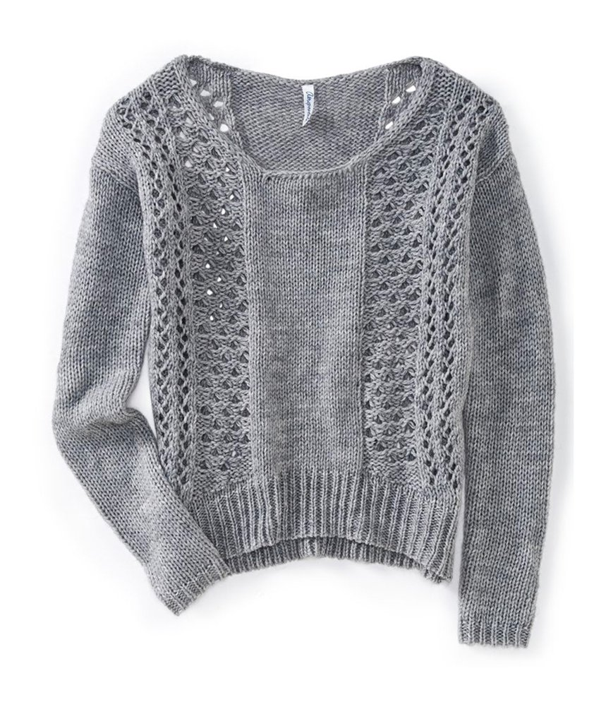 Aeropostale Womens Sheer Panel Knit Sweater Grey XS - Juniors
