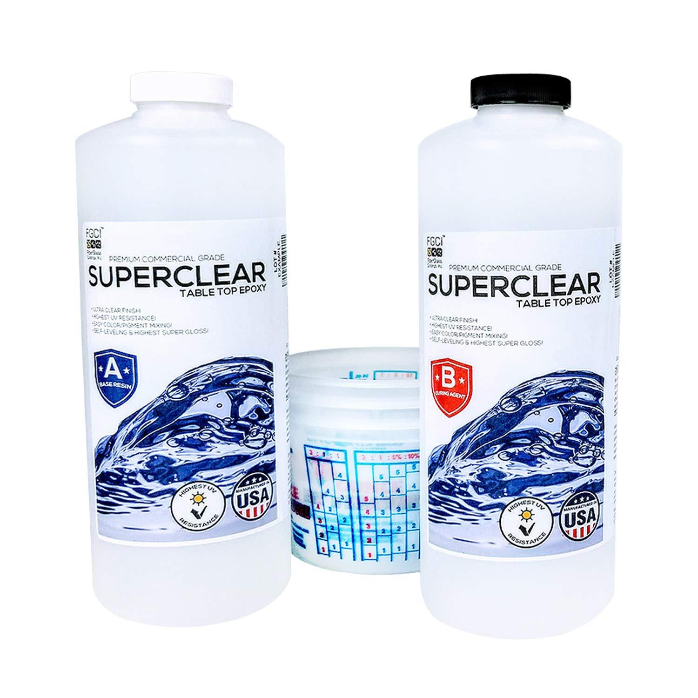 SUPER CLEAR Coat Epoxy Resin Kit, 2 Quart Kit, Ultra Clear Liquid Glass 2 Part Self Leveling Epoxy Resin, Epoxy Resin Table DIY, Floor Kit, Includes Epoxy Resin 1 Quart & Hardener 1 Quart & 3 1qt Cups by FGCI