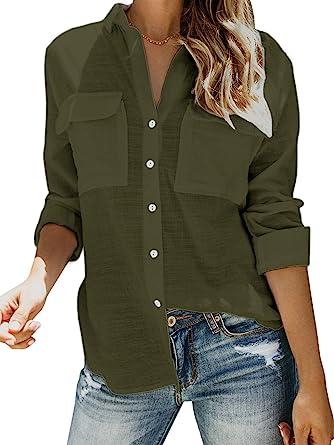 Blouse Tops Women Neck Plain Long Buttons Top Shirt Sleeve Casual V Loose