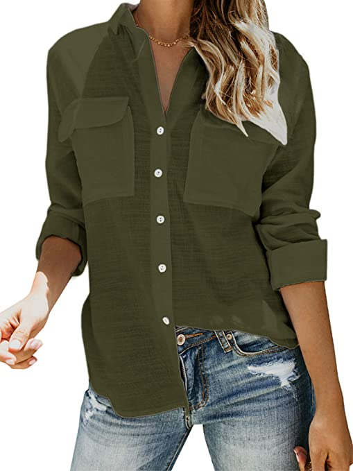 UJGYH Women V-Neck Button Tops Sweater Fashion Casual Patchwork Knot Long Sleeve Shirts Blouse