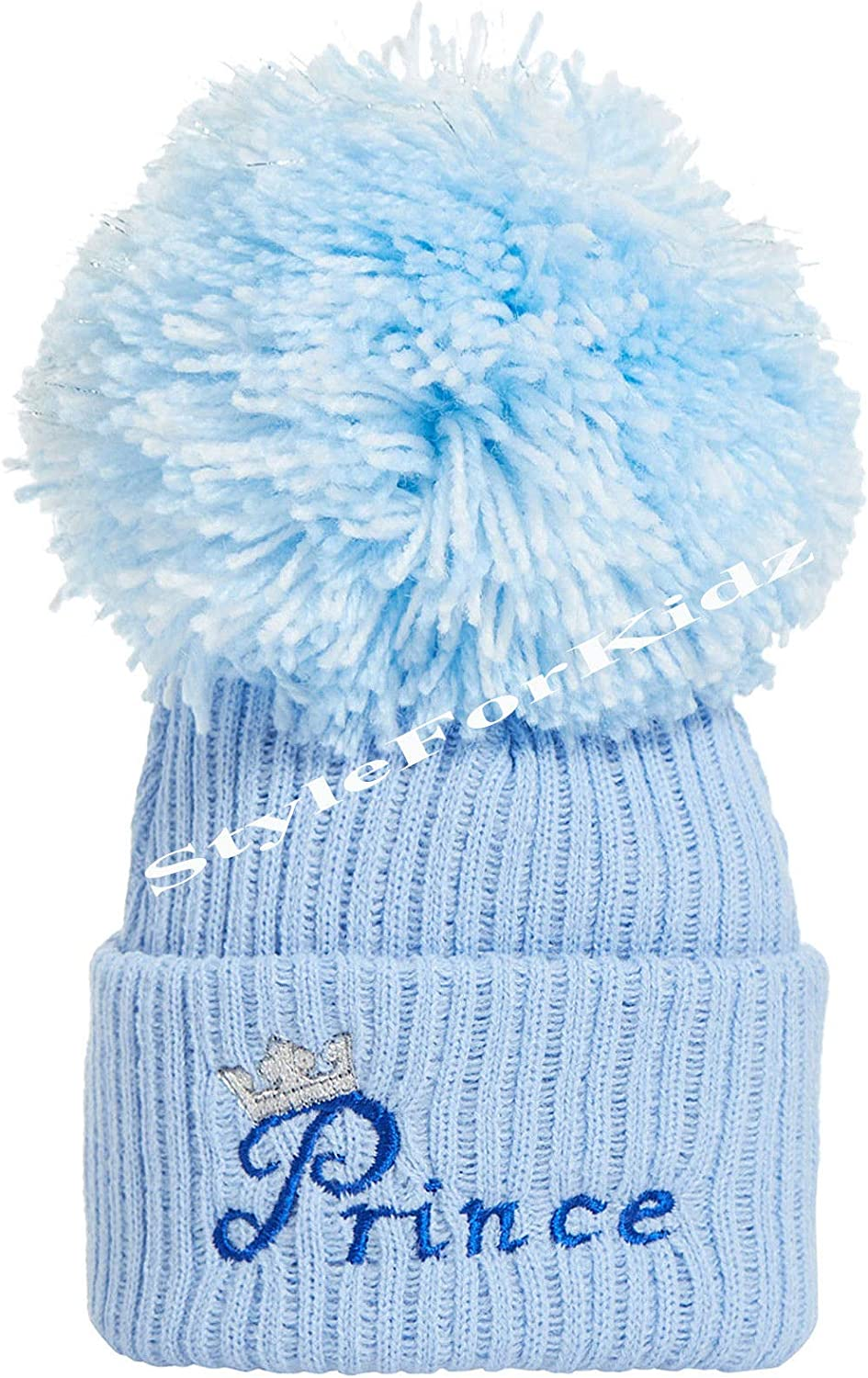 Teeny Buddens Baby Boys Girls Unisex Embroidered Personalised Bobble Pompom hat Newborn-12 Months