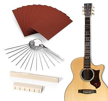 Kit de selleta y cejuela de hueso natural para guitarra, de Gibot, incluye hojas