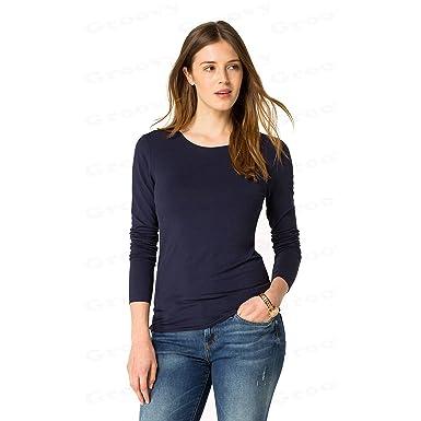 5545b3ebb0eac Ladies Girls New Plain Long Sleeve Stretch Scoop Neck Top T-Shirt Girl Size  UK 8-16  Amazon.co.uk  Clothing