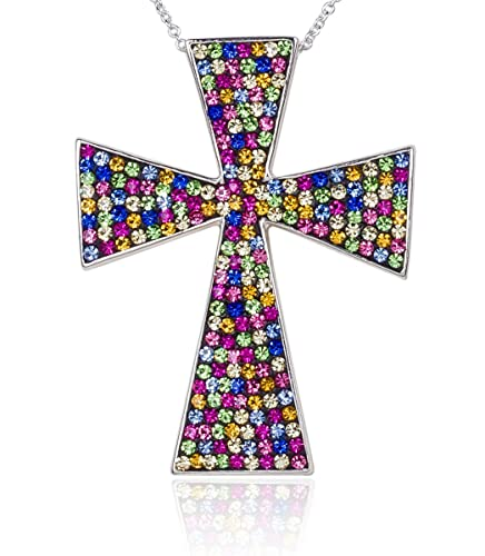 Carly Creations Women s Silver Plated Genuine Crystal Multicolored Cross Pendant – Large