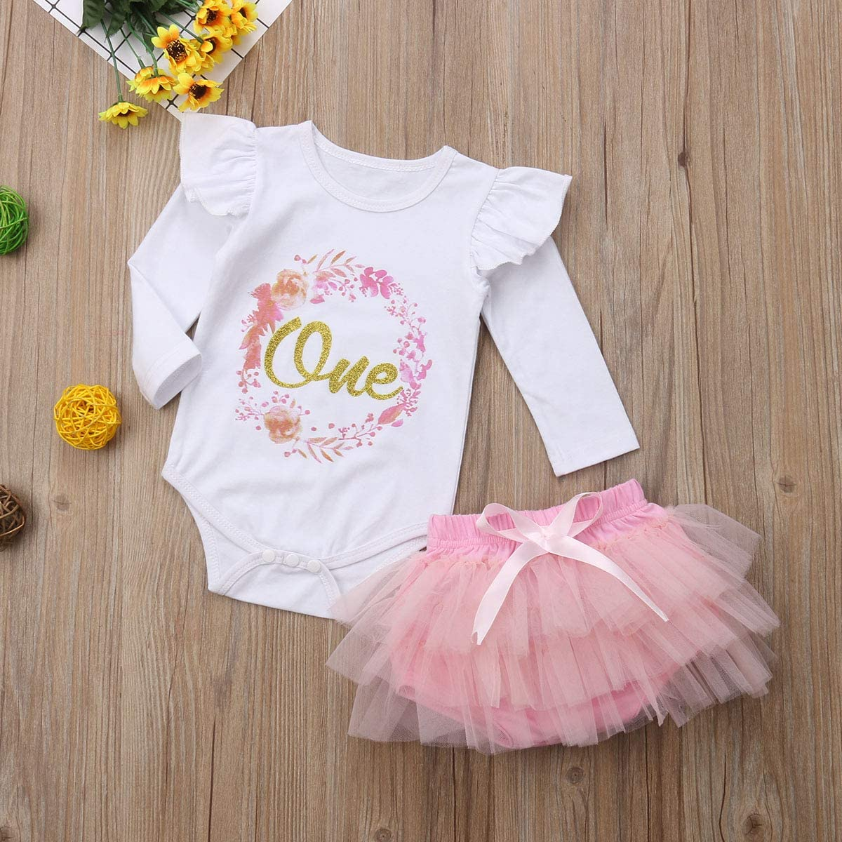 3PCS Newborn Baby Girl 1st Birthday Clothes Floral Printed Romper Tulle Tutu Skirt with Headband Costumes Outfits Set