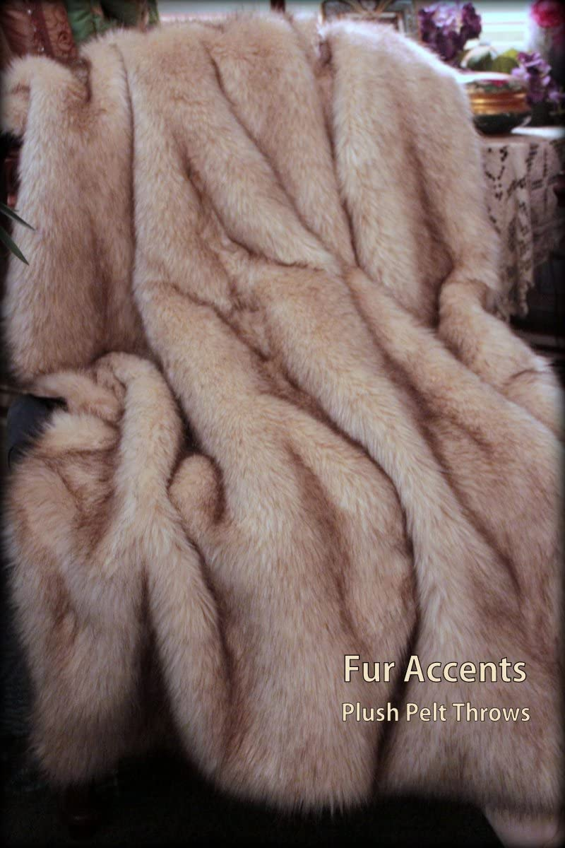 "BEST BUY on Amazon! Warm White Arctic Fox Faux Fur Throw Blanket/Chestnut Brown-Tipped Face Fur with Silky Soft""Minky"" Fur Backing -X- Large Adult Size"