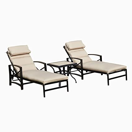Amazon.com : LOKATSE HOME Patio Chaise Lounge Chair Set with ...
