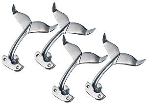 Whale Tail Wall Hook | Heavy Cast Aluminum Curved Whale Tail Wall Hook | Perfect for Beach Décor | (Four Hooks) | Plus Free Nautical Ebook by Joseph Rains