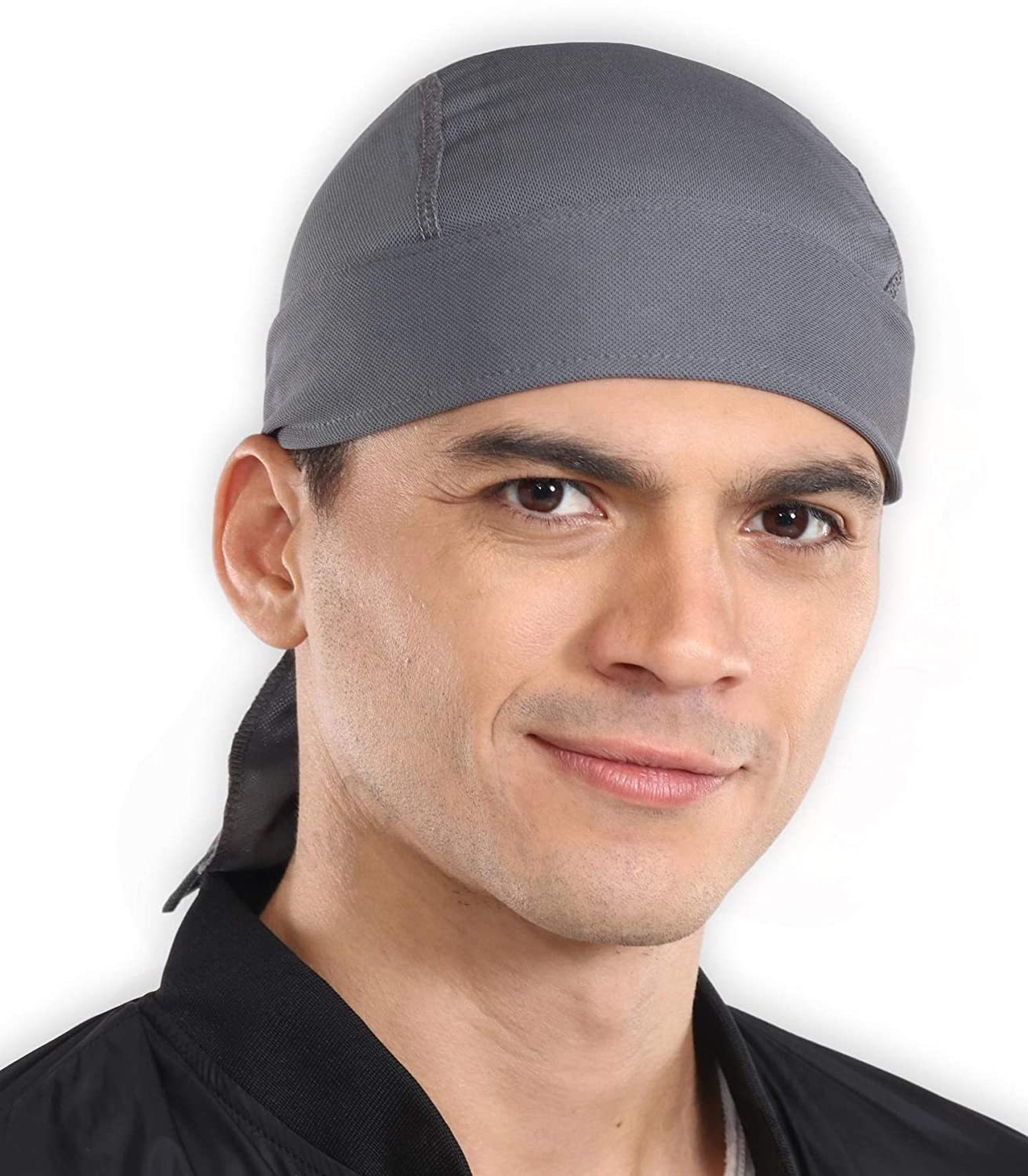 Do Rag Skull Cap Beanie for Men /& Women Sweat Wicking Cooling Helmet Liner Cooking /& Outdoor Activities Pirate Hat Bandana /& Head Wrap for Motorcycling Stretchy /& Breathable Mesh Running Hiking