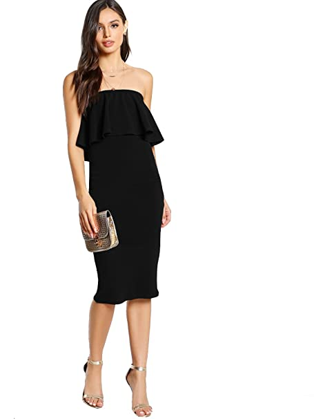 b67657cc3a8 Romwe Women s Ruffle Strapless Bodycon Tube Stretchy Party Dress Black XS  at Amazon Women s Clothing store