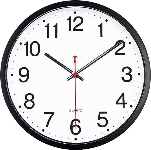 Tosnail 12 Inches Round Silent Non Ticking Quartz Wall Clock Elegant Black Frame