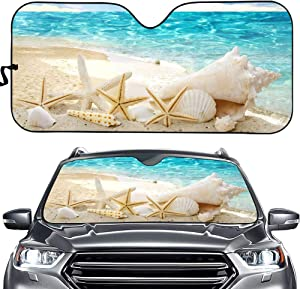 CLOHOMIN Blue Ocean Sea Starfishes Shell Seascape Car Windshield Accordian Sunshade,Auto Front Windshield Sun Shades Universal Fit UV Ray Reflector for Car Van SUV Truck